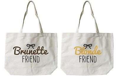 Brunette and Blonde Best Friend Cotton Canvas Tote Bags - Eco Bags, Book Bags](Bible Bags And Totes)