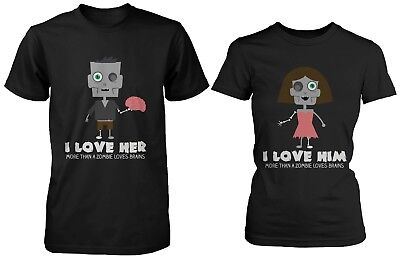 Shirts For Halloween (His and Hers Cute Zombie Couple Shirts for Halloween - Zombie Loves)
