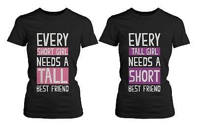 Cute Best Friend Shirts - Short and Tall Matching Black Cotton BFF