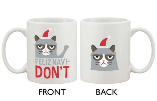 Grumpy Cat Feliz Navidon't Ceramic Coffee Mug - Funny Christ