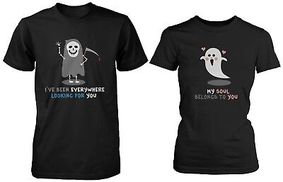 His and Hers Funny Halloween Ghost Couple Shirts - My Soul Belongs to You