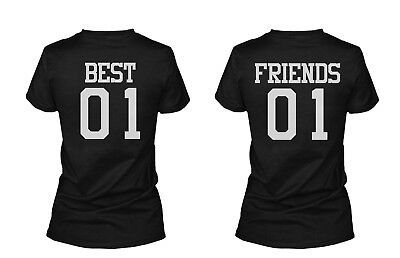 Best 01 Friend 01 Matching Best Friends T-Shirts BFF Tees For Two Girls (Two Best Friends Shirts)
