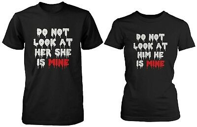 His and Her Matching Halloween Horror Couple Shirts - Do Not Look at Her and Him