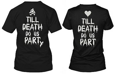 His and Hers Funny Halloween Couple Shirts Till Death Do Us Part-y