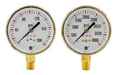 2-12 X 200 Psi 4000 Psi Welding Regulator Repair Replacement Gauges Oxygen