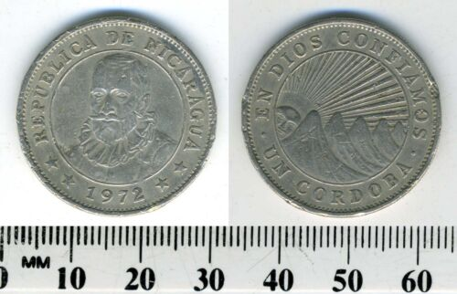 Nicaragua 1972 - 1 Cordoba Copper-Nickel Coin - Radiant sun and hills