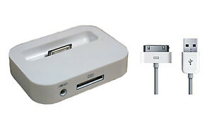 WHITE CHARGING CRADLE DESKTOP DOCK USB DATA CABLE FOR IPHONE 4 4S IPOD CLASSIC