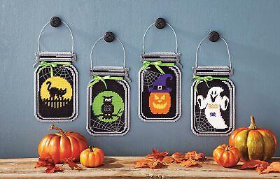 Mary Maxim Spooky Halloween Mason Jar Plastic Canvas Kit - Halloween Jars Crafts
