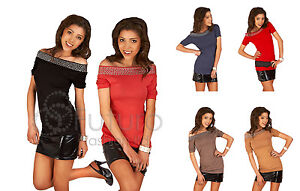 NEW-Beauty-TOP-Bodycon-Tunic-with-studs-Stretch-Boat-Neck-Size-8-10-12-HQ5961