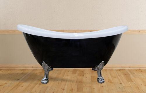 "Freestanding Clawfoot Bathtub w/Faucet opt.   59"" 69"" Black/White   Acrylic Tub"