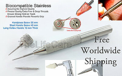 Apex Dental Root Extraction Screw Handpiece Anchor Short Long Handle 3 Pcs Set