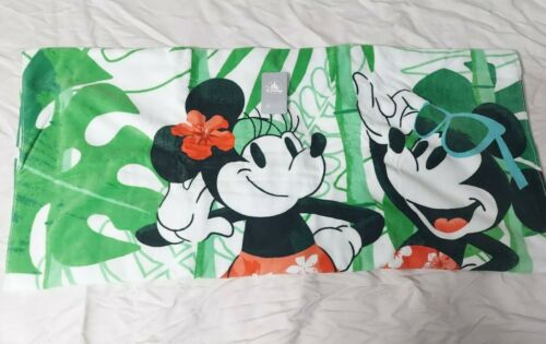 """Mickey & Minnie Mouse Tropical Disney Store Parks Deluxe Beach Towel 40X70"""""""