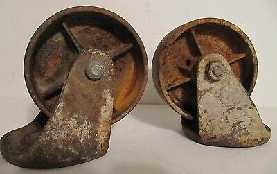 Pair Large 4 Vintage Heavy Duty Cast Iron Industrial Caster-steampunk