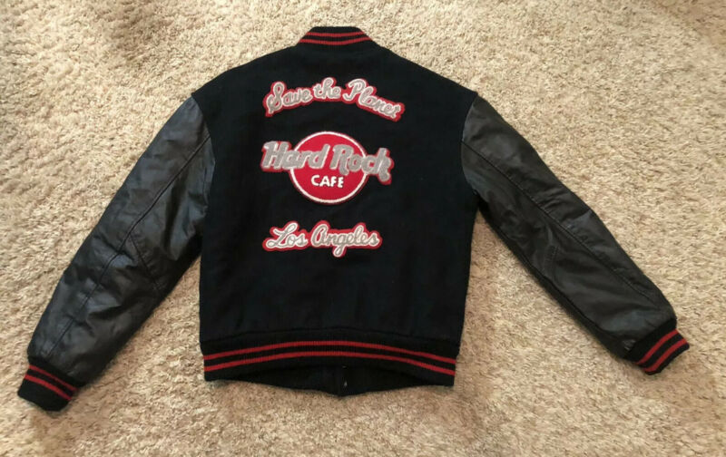 Hard Rock Cafe Los Angeles Letterman Leather Wool Jacket Sz S