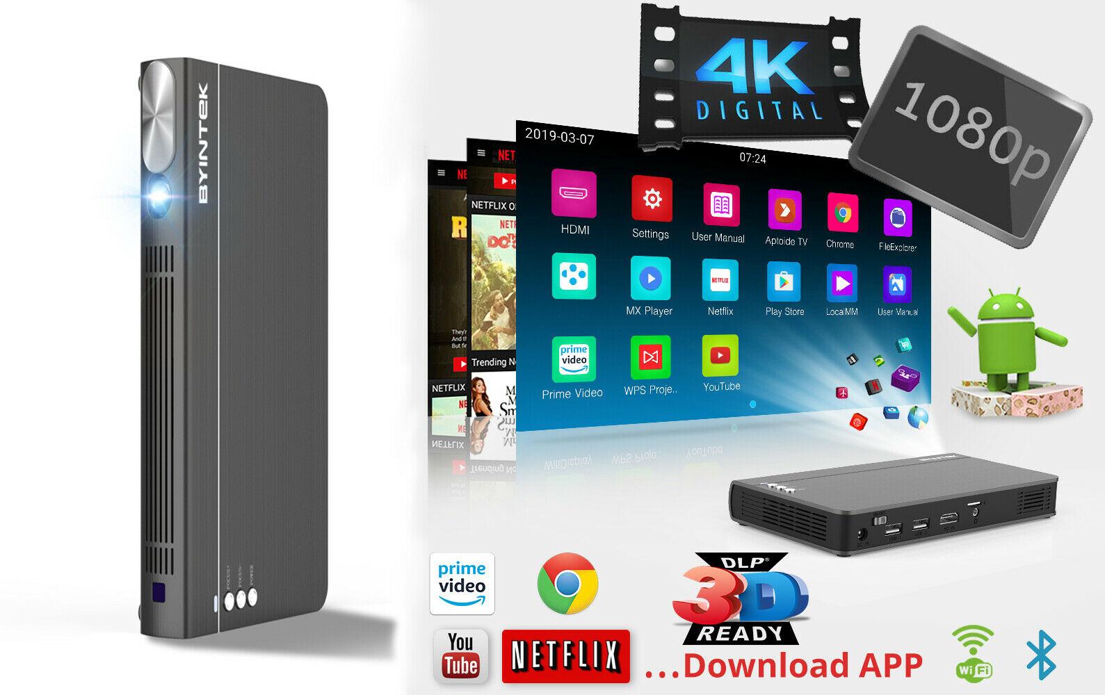 BYINTEK UFO P12 300inch Smart 3D 5G WIFI Android 4K HD DLP P