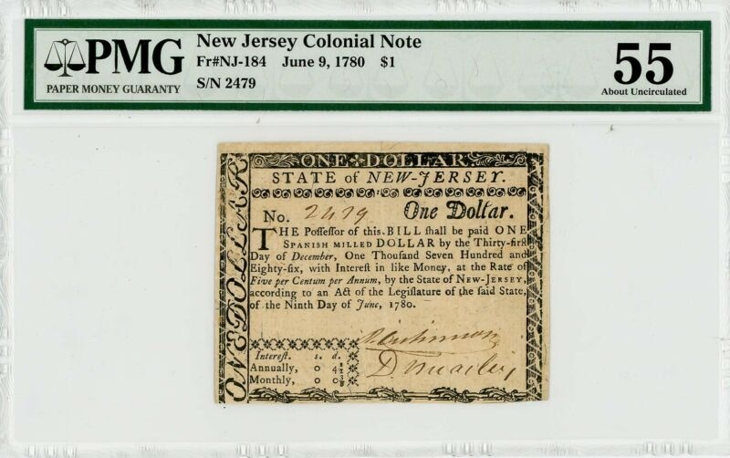 Fr. NJ-184 $1 New Jersey Colonial Note June 9, 1780 AU55 PMG 942900-26