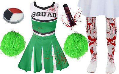CHILDRENS KIDS GREEN ZOMBIE CHEERLEADER GIRLS HALLOWEEN FANCY DRESS COSTUME