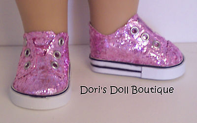 Doll Clothes fits American Girl * PINK GLITTER SLIP ON SNEAKERS/SHOES *  on Rummage