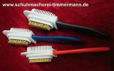 Combi Bürste Raulederbürste Schuhbürste Wildlederbürste Pflege Reinigung Messing