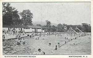 Swimmers and Bathing Beach ~WATCHUNG NJ~ Great Old Postcard