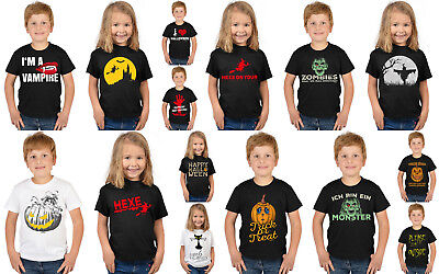Kindershirt Halloween Sprüche - Kinder Halloween Grusel T-Shirt Halloweenshirt