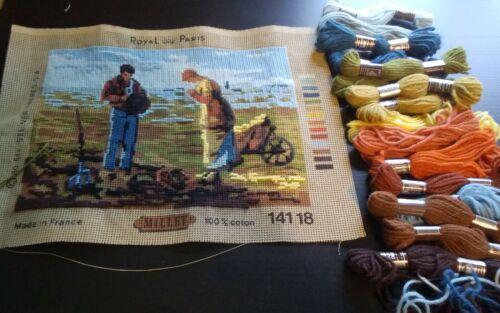 Royal Paris needlepoint canvas DMC wool yarn Millet D