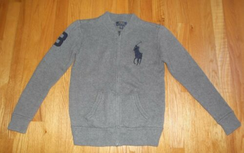 BOYS RALPH LAUREN POLO BIG PONY Gray Sweater Jacket SIZE MEDIUM 10-12 Full Zip