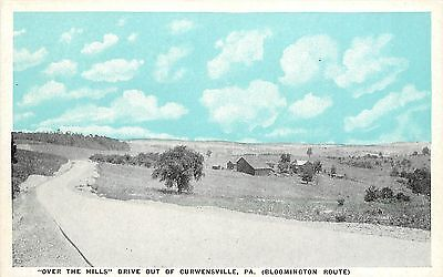 C1920 Postcard Over The Hills Drive Curwensville Pa Bloomington Route Clearfield