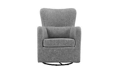 Living Room Domestic Decor Armchair Rotating Swivel Accent Chair, Linen, Light Grey