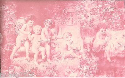 Victorian Architectural Antique Baby Angels Cherubs Powder Pink Wallpaper Border