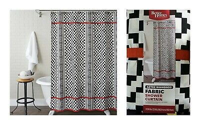 BETTER HOMES AND GARDENS Fabric Shower Curtain Aztec Diamonds Red Black