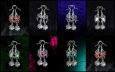 VINTAGE STYLE CRYSTAL RHINESTONE SILVER HALLOWEEN SPIDER WEB DANGLE EARRINGS  - Halloween Earrings