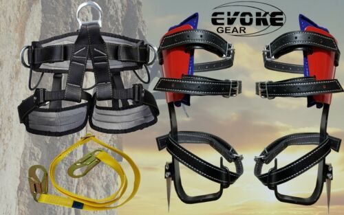 Evoke Gear Tree Climbing Spike Set Climber with Tree and Pole Graff with harness