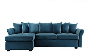 Modern Velvet Sectional Sofa   L Shape Couch With Chaise Lounge (Blue)