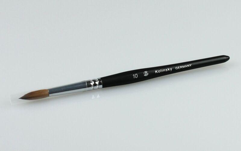 Watercolor or Calligraphy or Nail Art Brush 100% Kolinsky Sable Pen Round 10