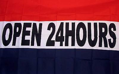 Open 24 Hours Flag Banner 3 X 5 New Polyester Business Advertising