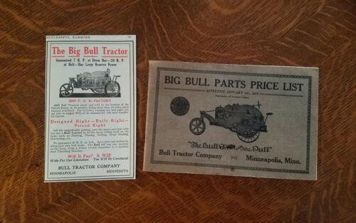 Rare 1919 Big Bull Parts Price List Catalog Manual Farm Tractor