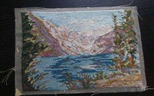 "Vtg completed Godkin? petit point silk mesh miniature mountain landscape 4.25x6"""