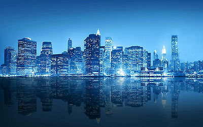 Framed Print – Reflective New York City Skyline in Blue (Cityscape Picture Art)
