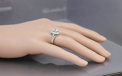 GIA G-SI1 14K WHITE GOLD CUSHION CUT DIAMOND ENGAGEMENT RING DECO 1.70CTW 7