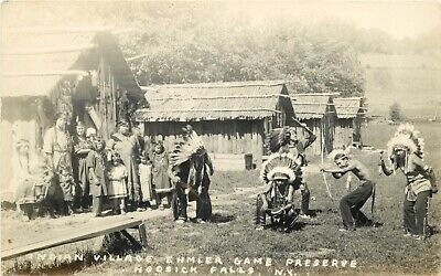 Indian Village ~Ehmler Game Preserve - HOOSICK FALLS, NY~ Great Old RPPC, 1940