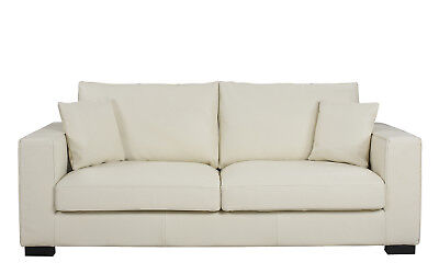 Modern Deep Seat Couch Wide-Track Sofa Armrest Sofa, Top Grain Leather, Ivory Modern Wide Sofa