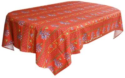 """Le Cluny 60"""" x 96"""" Rectangular COATED Provence Tablecloth - Lavender Red"""