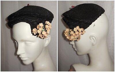 40er 50er Jahre Hut Vintage Rund Schwarz Stroh Rosa Blumen USA Rockabilly 57 cm
