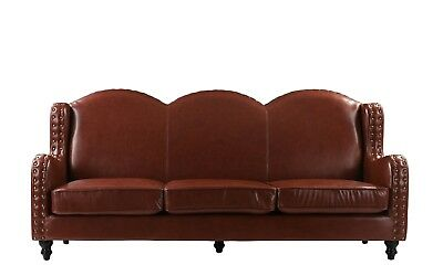 Leather Sofa 3 Seater, Living Room Couch, Loveseat for 3, Nailheads, Light Brown ()