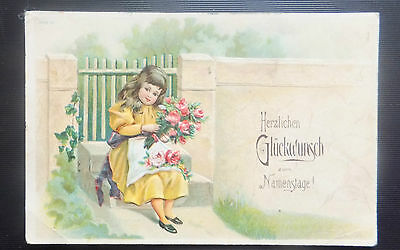 AK  geprägt Prägekarte zum Namenstag Kind Mädchen mit Blumen gel. 1905