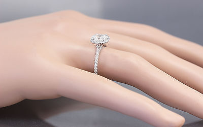 GIA H-SI1 14k White Gold Cushion Cut Diamond Engagement Ring Halo Deco 1.20ctw 2