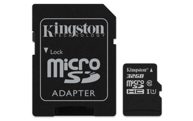 32GB Kingston Micro SD Speicherkarte Class 10 mit SD-Adapter 45MB/r 10MB