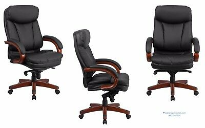Set Of 14 Traditional Conference Office Desk Chairs Black Leather Wood Frame