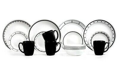 Corelle Classic 16-Piece Black & White Mix and Match Dinnerware Set